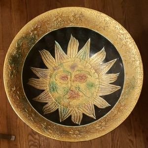 Vintage sun face centerpiece pottery bowl. ☀️
